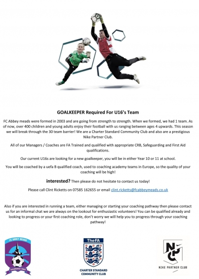 Under 16 Goalkeeper Required